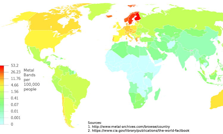 A map picturing the distribution of metal bands per capita on a global scale. Cropped sort of badly, but you get the idea.