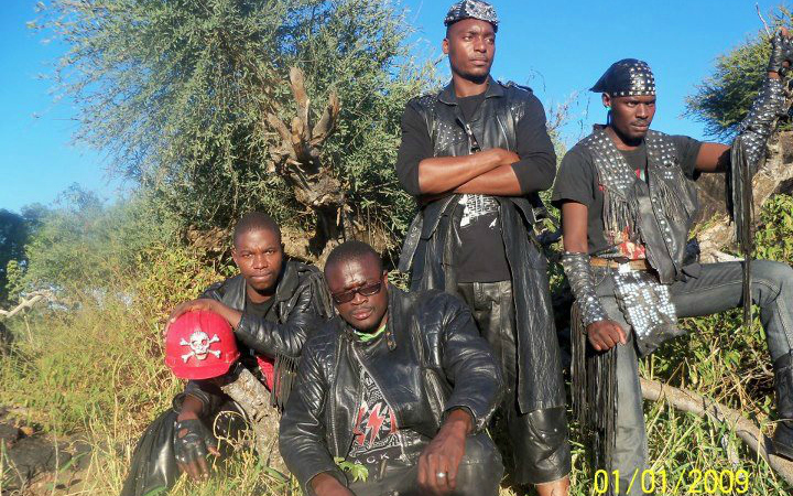 Pictured: Botswana death metal (NOT black metal) band Overthrust.