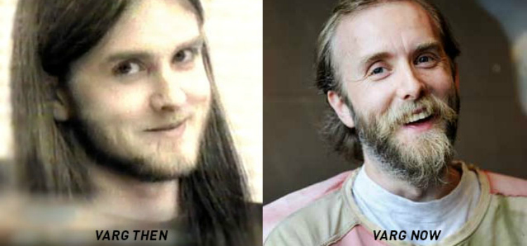On the left, Varg Vikernes smiles into the camera as he is sentenced for murder and arson; on the right, Varg Vikernes smiles as he enjoys his post-prison freedom.