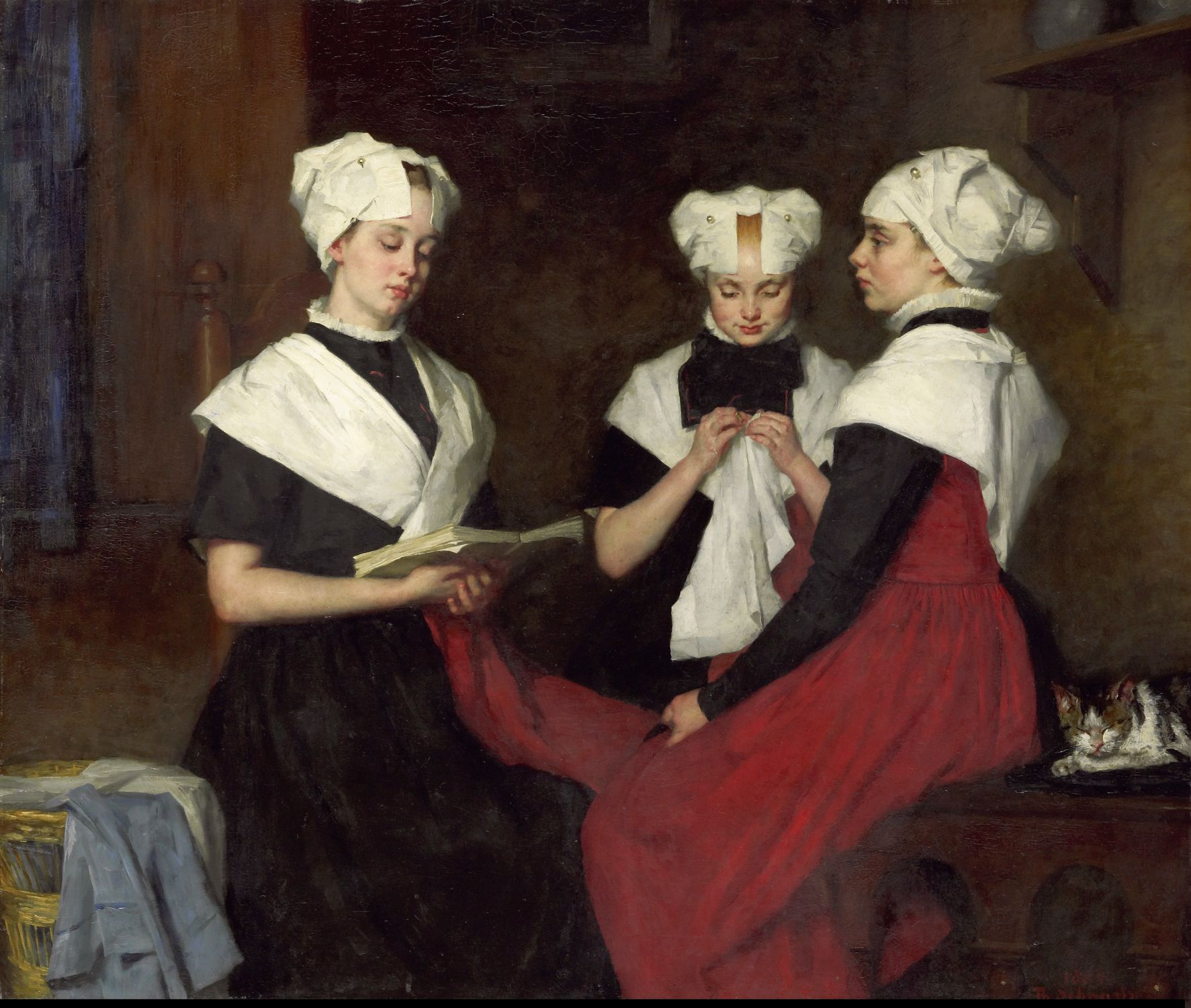 Thérèse Schwartze (Dutch Painter), Drie Meisjes uit het Amsterdamse Burgerweeshuis, 1885, oil on canvas