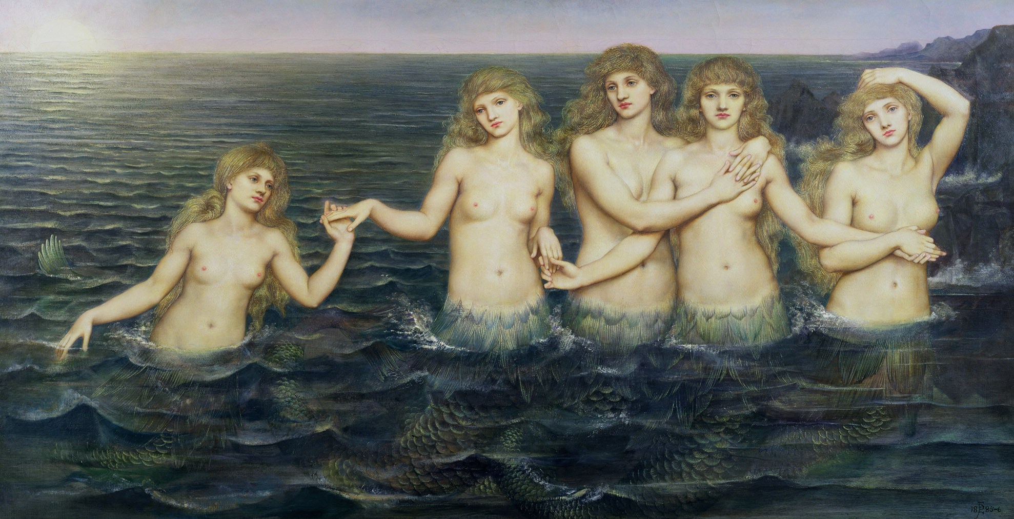 Evelyn de Morgan (English Painter), The Sea Maidents, 1886, oil on canvas