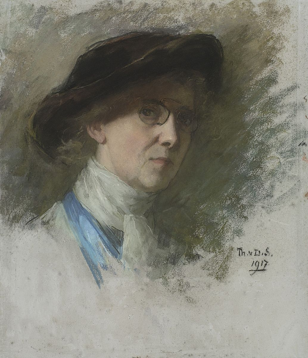 Self-portrait with black hat and glasses, 1917	 Pastel on paper, 55 cm x 47 cm	 Rijksmuseum, Amsterdam View full size