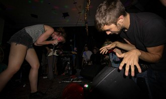 Guerilla Toss performing at a Bernie Sanders benefit show.
